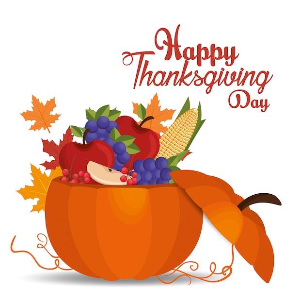 Szczęśliwy dzień dziękczynienia karta wypełnione dynią owoce Darmowych Wektorów