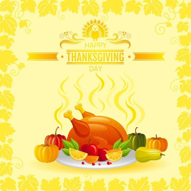 Szczęśliwy Dzień Dziękczynienia Kartkę Z życzeniami Z Pieczony Indyk, Dynia, Jabłko I Ramka Liści Winnicy. Premium Wektorów