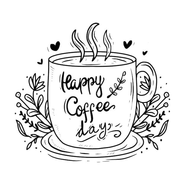Szczęśliwy Dzień Kawy List Typografii Rysunek Cytat Premium Wektorów