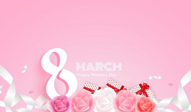 Szczęśliwy Dzień Kobiet 8 Marca Na Różowym Tle I Pięknych Różach, Pudełkach I Białej Wstążce. Premium Wektorów