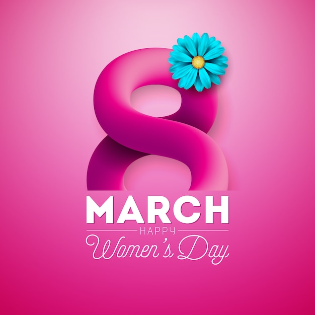 Szczęśliwy dzień kobiet kwiatowy wzór kartkę z życzeniami Premium Wektorów
