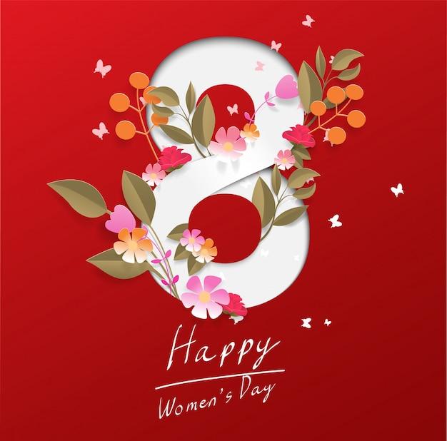 Szczęśliwy Dzień Kobiet Na Czerwonym Tle Premium Wektorów