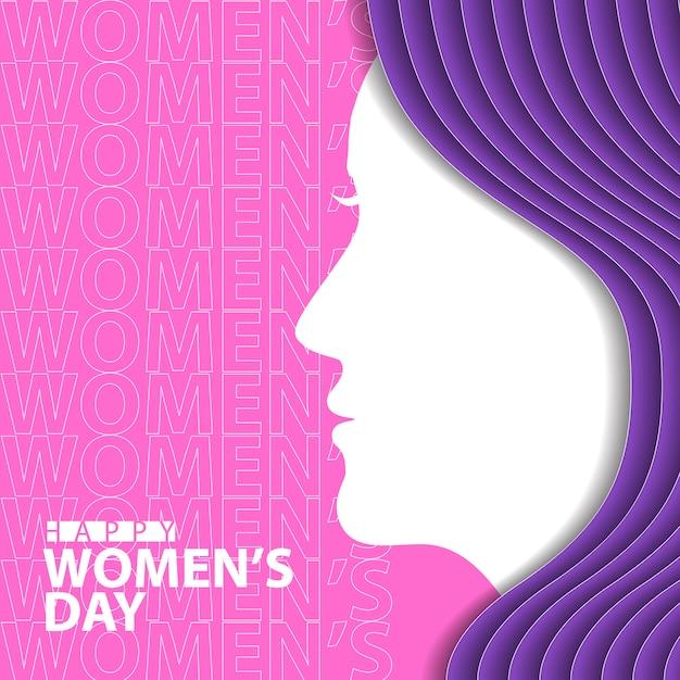 Szczęśliwy Dzień Kobiet Z Kobietą Sylwetka Premium Wektorów