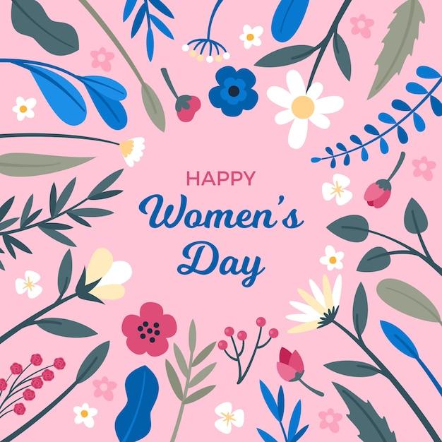 Szczęśliwy Dzień Kobiet Z Wiosennych Liści I Kwiatów Darmowych Wektorów