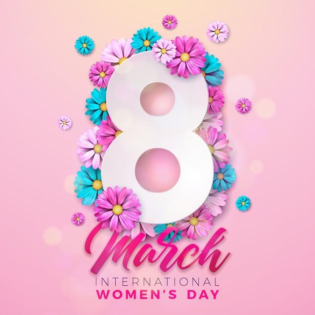 Szczęśliwy Dzień Kobiet Premium Wektorów