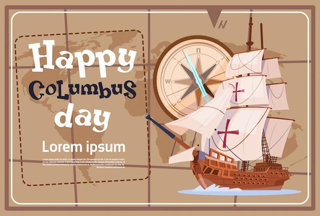 Szczęśliwy Dzień Kolumba Ameryka Odkryj Kartkę Z życzeniami Plakat Wakacyjny Premium Wektorów