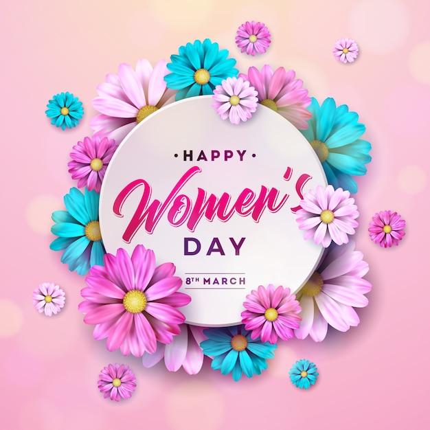 Szczęśliwy dzień kwiatowy kartkę z życzeniami Premium Wektorów