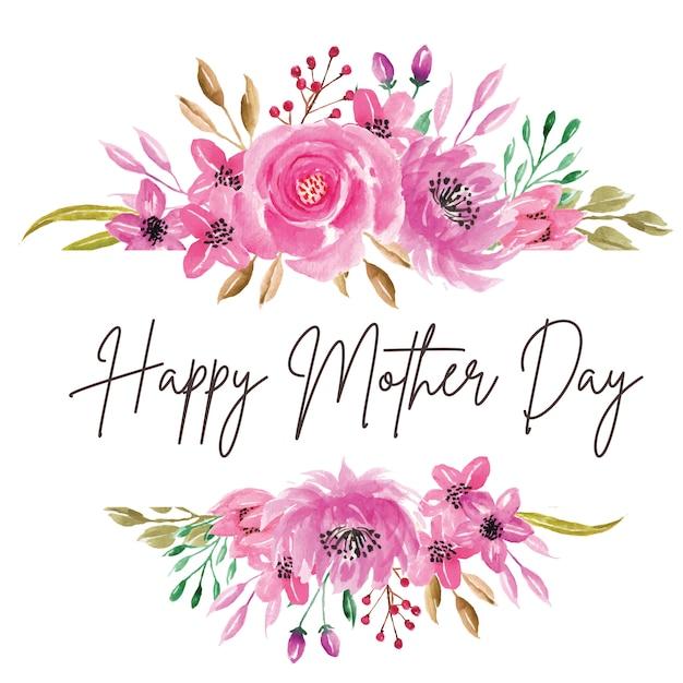 Szczęśliwy dzień matki akwarela kwiat różowy Premium Wektorów