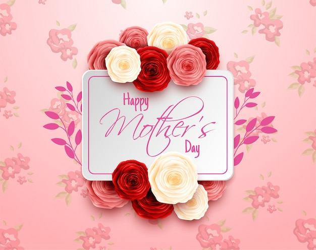 Szczęśliwy Dzień Matki Na Tle Kwiatów Premium Wektorów