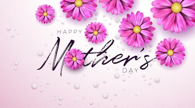 Szczęśliwy Dzień Matki Pozdrowienie Projekt Kartą Kwiat I Typografii List Na Różowym Tle. Darmowych Wektorów