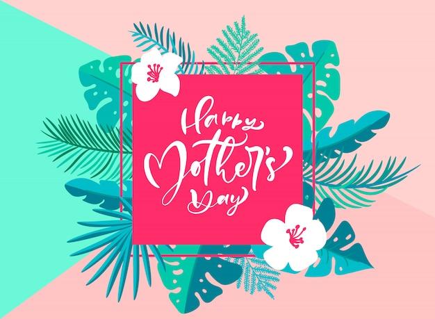 Szczęśliwy Dzień Matki Strony Napis Tekst Z Pięknymi Kwiatami Premium Wektorów