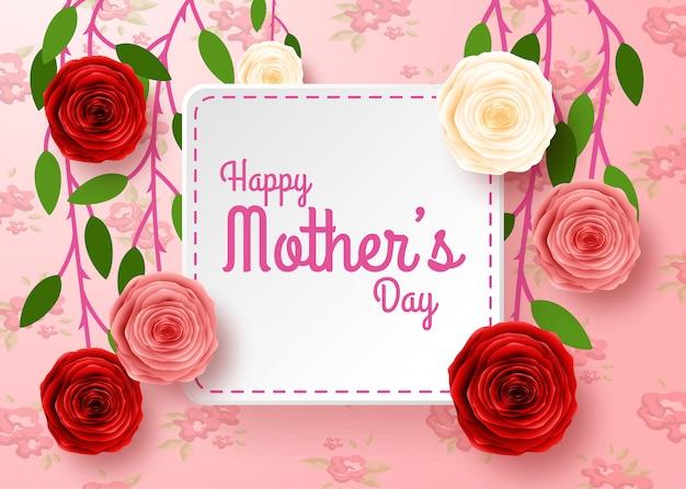Szczęśliwy Dzień Matki Z Tłem Kwiatów Premium Wektorów