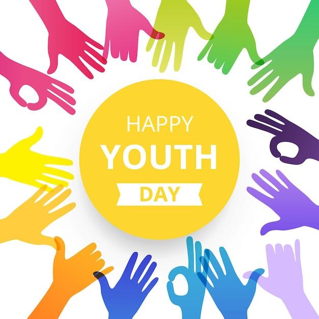 Szczęśliwy Dzień Młodzieży Ręce Sylwetki Darmowych Wektorów