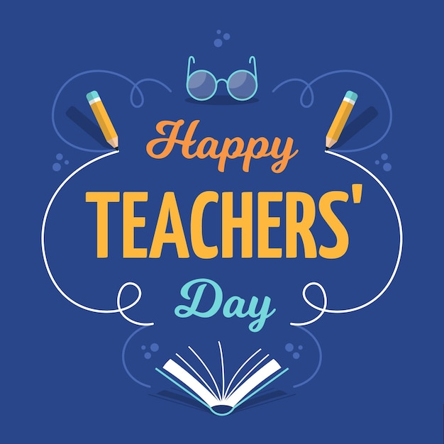 Szczęśliwy Dzień Nauczyciela Pozdrowienie Napis Premium Wektorów