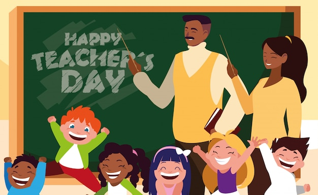 Szczęśliwy Dzień Nauczyciela Z Nauczycielami Czarnymi I Uczniami Premium Wektorów