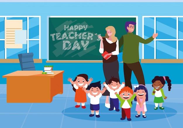Szczęśliwy dzień nauczyciela z nauczycielami i uczniami w klasie Premium Wektorów