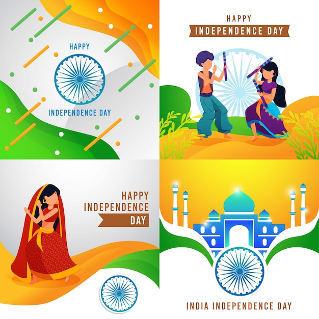 Szczęśliwy dzień niepodległości indii Premium Wektorów