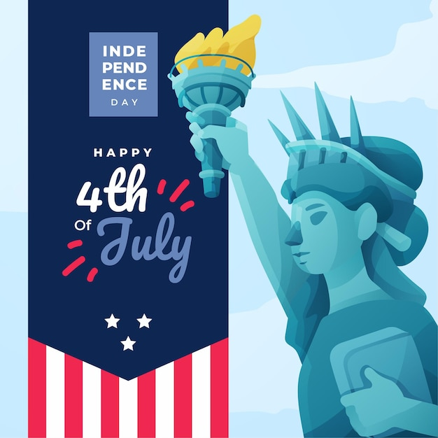 Szczęśliwy Dzień Niepodległości Z Flagą I Statua Wolności Premium Wektorów