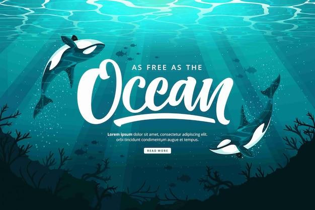 Szczęśliwy Dzień Oceanów Tło Premium Wektorów