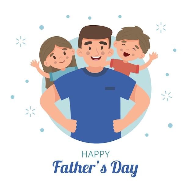Szczęśliwy Dzień Ojca I Rodzina Płaska Darmowych Wektorów