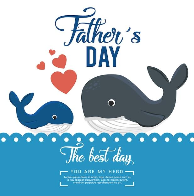 Szczęśliwy Dzień Ojca Karty Z Wieloryb Wektor Ilustracja Projektu Premium Wektorów