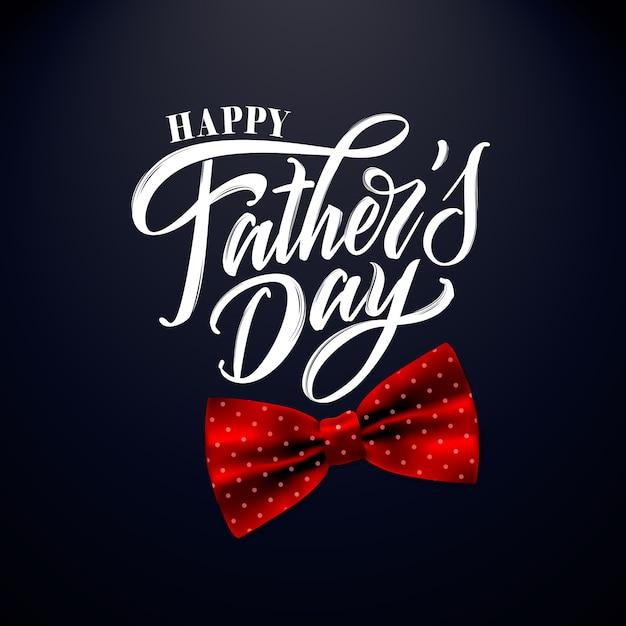 Szczęśliwy Dzień Ojca Odręcznie Napis, Karty Z Pozdrowieniami Premium Wektorów