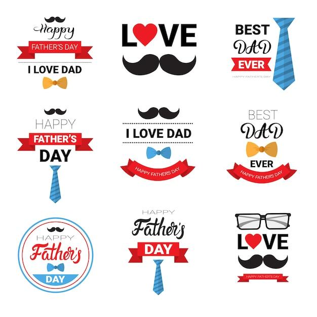 Szczęśliwy dzień ojca rodzinne wakacje pozdrowienie zestaw plakat Premium Wektorów