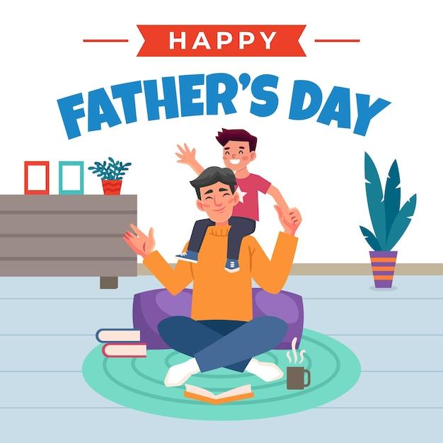 Szczęśliwy Dzień Ojca Tata Bawi Się Z Synem W Pomieszczeniu Darmowych Wektorów