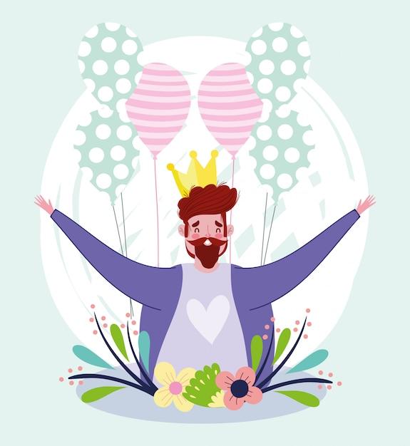 Szczęśliwy Dzień Ojca, Tata Postać Z Kwiatami Korony I Balony Premium Wektorów