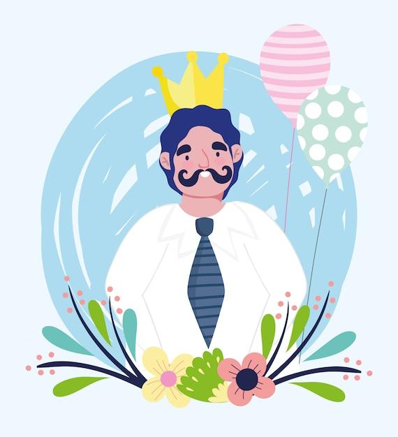 Szczęśliwy Dzień Ojca, Tata Postać Ze Złotymi Kwiatami Korony I Balony Premium Wektorów