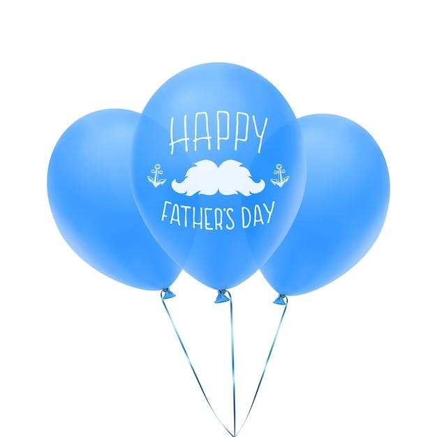 Szczęśliwy Dzień Ojca Z życzeniami Z Niebieskimi Balonami Premium Wektorów