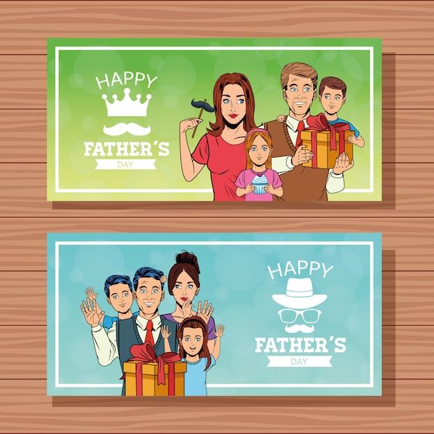 Szczęśliwy Dzień Ojców Banery Karty Premium Wektorów