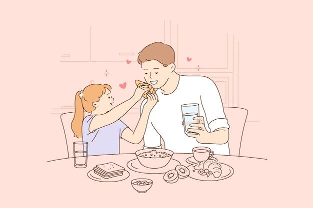 Szczęśliwy Dzień Ojców, Ilustracja Ojca I Córki Razem Spędzać Czas Premium Wektorów