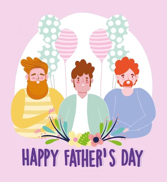 Szczęśliwy Dzień Ojców, Tata Balony Kwiaty Uroczystości Dekoracji Premium Wektorów