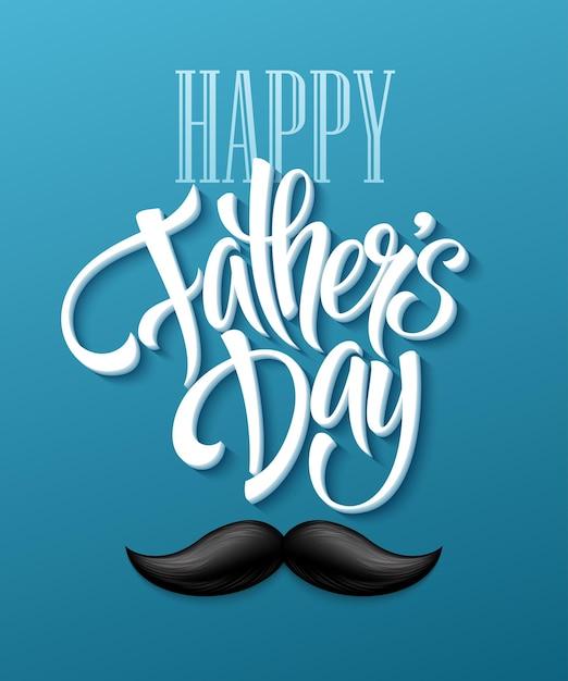 Szczęśliwy Dzień Ojców Tło Z Pozdrowieniami I Wąsami. Ilustracja Wektorowa Eps10 Darmowych Wektorów