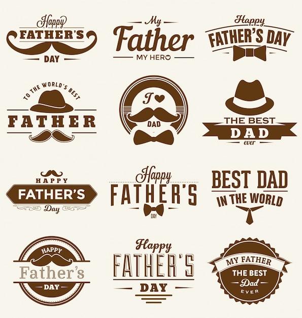 Szczęśliwy Dzień Ojcowie Design Collection Darmowych Wektorów