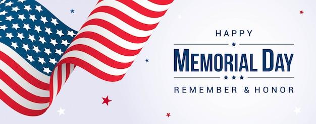 Szczęśliwy Dzień Pamięci Transparent Z Macha Flagą Usa Premium Wektorów