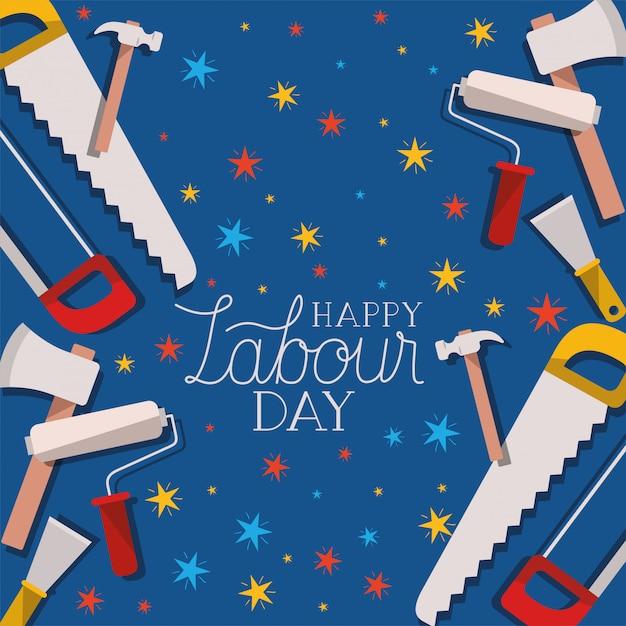 Szczęśliwy Dzień Pracy Kartkę Z życzeniami Z Kompozycją Narzędzi Budowlanych Premium Wektorów