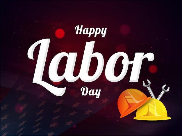 Szczęśliwy Dzień Pracy Projekt Z Pracownikiem Hełm I Narzędzie Klucza Premium Wektorów