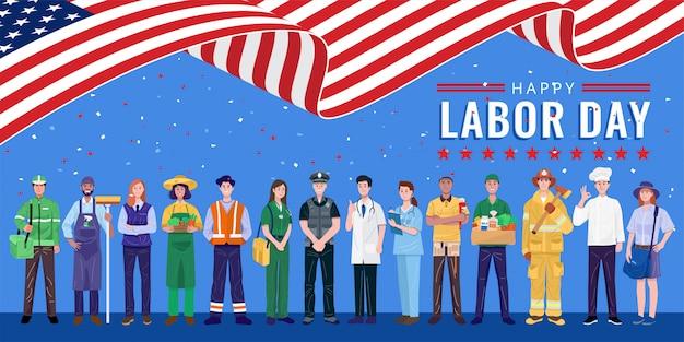 Szczęśliwy Dzień Pracy. Różne Zawody Osób Stojących Z Amerykańską Flagą. Premium Wektorów
