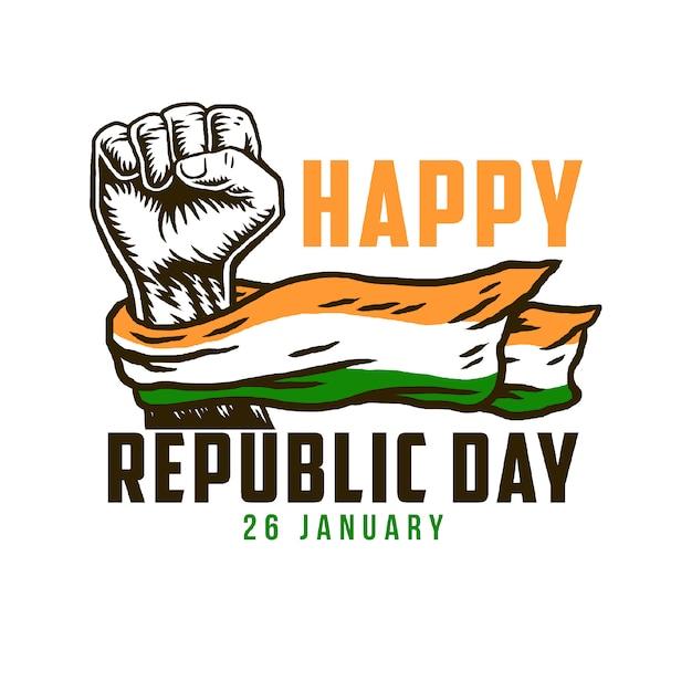 Szczęśliwy Dzień Republiki Z Indii Flagi Narodowej Na Pięści Premium Wektorów