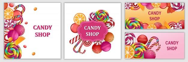 Szczęśliwy Dzień Słodki Cukierek Zestaw Bannerów Premium Wektorów
