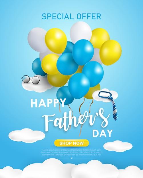 Szczęśliwy Dzień Sprzedaży Banner Ojca Lub Promocja Na Niebieskim Tle. Kreatywny Projekt Z żółtymi, Niebiesko-białymi Balonami I Elementami Chmur. Premium Wektorów