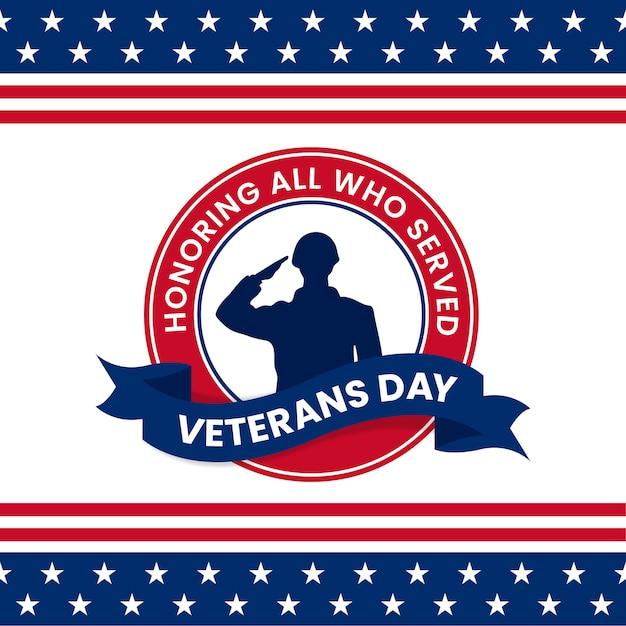 Szczęśliwy Dzień Weteranów Uhonorowanie Wszystkich, Którzy Służyli Plakat Celebracja Logo Retro Vintage Odznaka Premium Wektorów