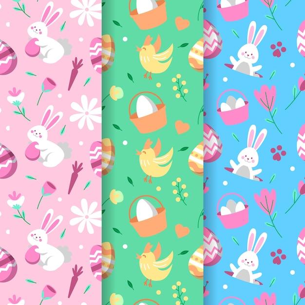 Szczęśliwy Dzień Wielkanocny Wzór Z Kurczakiem I Zające Darmowych Wektorów