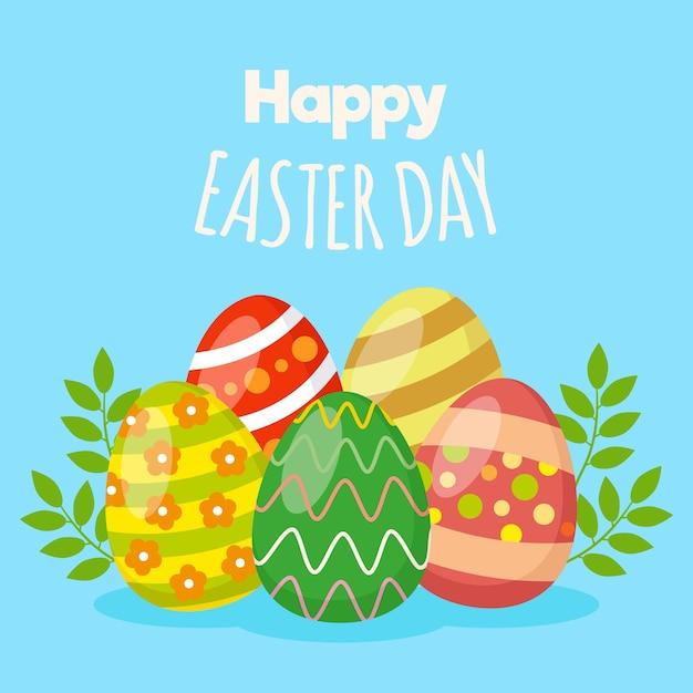 Szczęśliwy Dzień Wielkanocny Z Pisanki Darmowych Wektorów