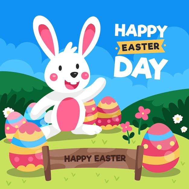 Szczęśliwy Dzień Wielkanocy W Płaskiej Konstrukcji Darmowych Wektorów