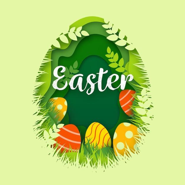 Szczęśliwy Dzień Wielkanocy W Stylu Papieru Darmowych Wektorów