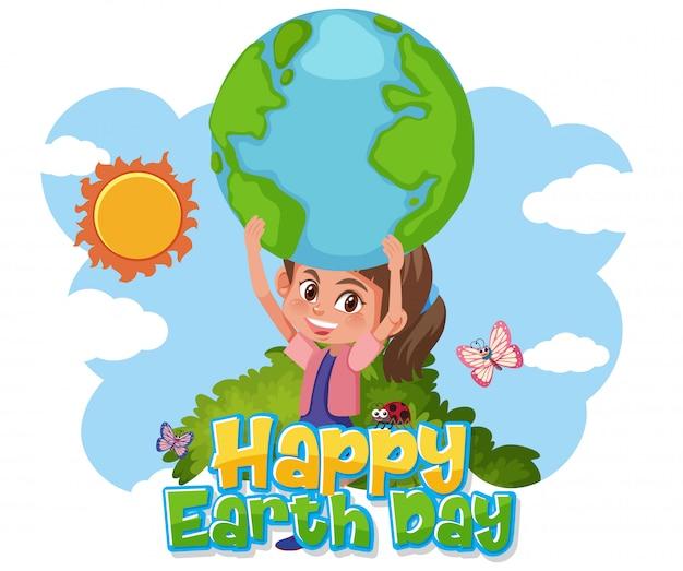 Szczęśliwy Dzień Ziemi Z Happy Girl Posiadania Ziemi Premium Wektorów