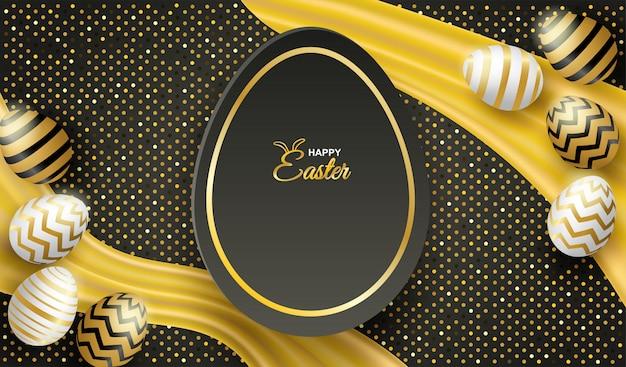 Szczęśliwy easter celebration.easter jajko na czarnym tle. Premium Wektorów